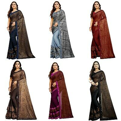 Designer Saree Ruffle Sari Party Wear Indian Blouse Bollywood Wedding Sari KP • 13.99£