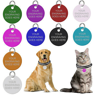 £2.55 • Buy Personalised Pet Tags Engraved Dog Cat Charm Round Name Collar Animal ID Disc UK