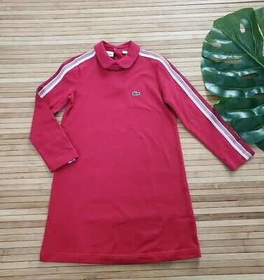 Lacoste Girls Red Long Sleeve Athleisure Pique Polo Dress Size 6  • 24.83£