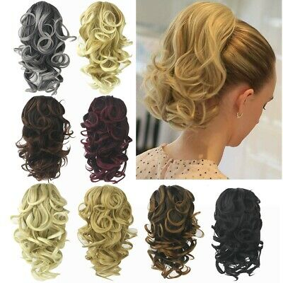 Women Synthetic Claw Clip Ponytail Extension Short Wave Pony Tail Hair Piece UK • 7.86£