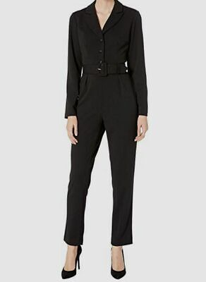 $95.17 • Buy New $385 Adrianna Papell Women's Knit Crepe Tuxedo Belted V-neck Jumpsuit Size 4