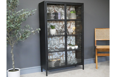 Glass And Metal Industrial Display Cabinet With Glass Doors 6584 • 299.99£