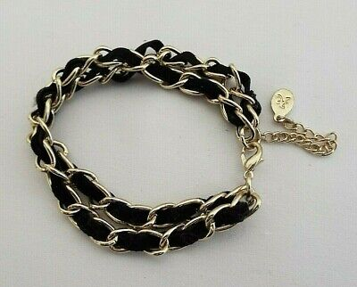£2.99 • Buy Accessorize Black Cord Woven In Gold Colour Metal Double Strand 6.5   Bracelet