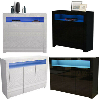 High Gloss Bed Sideboard Cupboard LED Buffet Door Cabinet With 2/3 Doors Storage • 114.02£