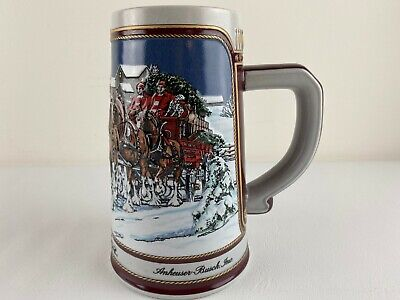 $ CDN19.80 • Buy Vintage 1989 Budweiser Holiday Clydesdale Wagon Beer Stein Anheuser- Busch