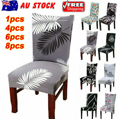 AU5.19 • Buy 1/4/6/8PCS Dining Chair Seat Covers Slip Stretch Wedding Banquet Party Removable