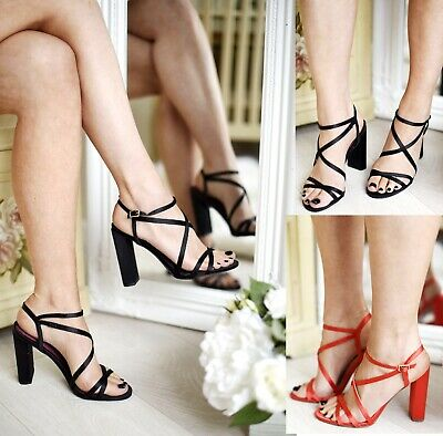 £5.95 • Buy Ladies Womens Perspex Strappy Sandals Stiletto High Heels Buckle Party Shoes Sz