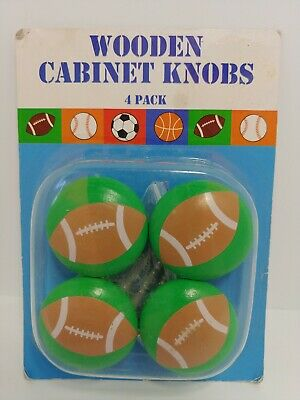 $3.95 • Buy Wooden Cabinet Knobs, Green With Footballs, Pack Of 4 With Screws
