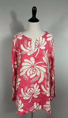 $21.21 • Buy Island Company Beach Tunic L Coral White Floral Linen Long Sleeve