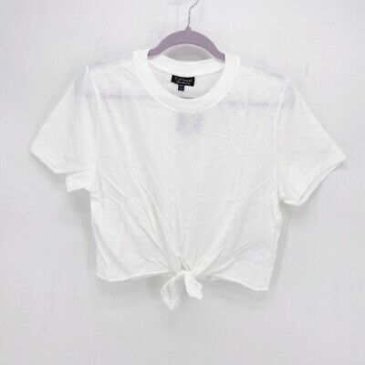£17.99 • Buy BRAND NEW BNWT Topshop White Cotton Knot Front T-Shirt Tee (UK 10)