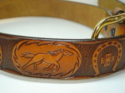 $29.99 • Buy 3D Western Belt Kids Child's Leather Tooled Brown 4125 Size 26 Horse Cowboy