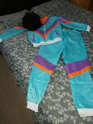 Men 80s Shell Suit Fancy Dress Costume Scouser Tracksuit - Small- With Black Wig • 7.50£
