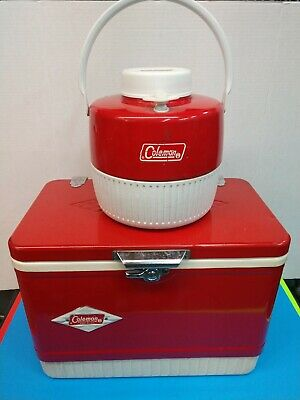 $130 • Buy Coleman Metal & Plastic Red & White Diamond Logo Ice Chest &  Water Jug