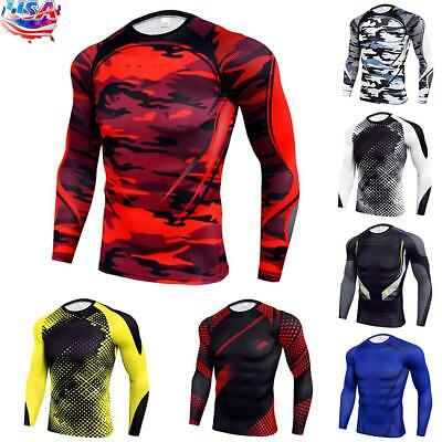 $16.09 • Buy Mens Compression Armour Base Layer Top Long Sleeve Thermal Gym Sports Skin Shirt