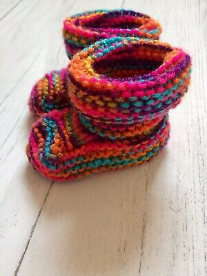 New Hand Knitted Baby Girls Booties Bootees Shoes Rainbow Handmade  3-6 Months • 5.99£