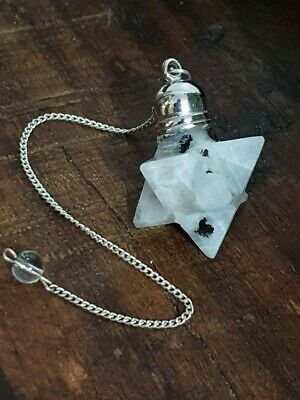 Gemstone Merkaba / Star Pendulum With Chain - MOONSTONE - New Beginning Stone 2 • 12.99£