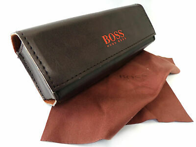 HUGO BOSS Glasses Case Or Sunglasses Case - Cloth Included - Brown Authentic • 16.99£