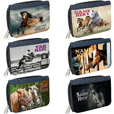 Personalised Ladies Horse Denim Coin Wallet Birthday Gift Rider Pony Show Jump • 8.95£