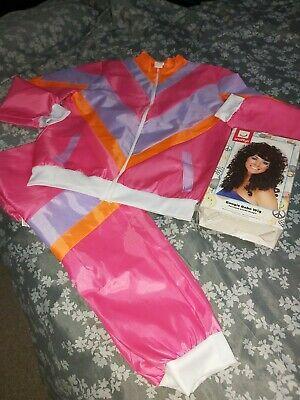 Ladies 80s Shell Suit Size - XL - Fancy Dress - Tracksuit Womens & Boogie Wig • 10.50£