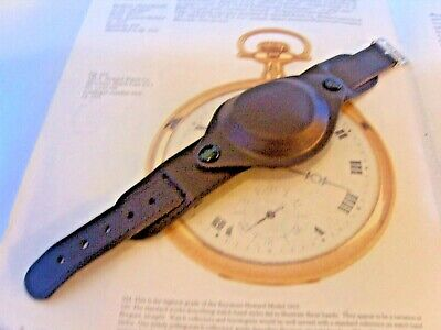 $31.64 • Buy Military Wrist Watch Strap 19mm Protective Cover Brown Leather & Gilt Buckle