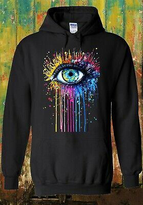 Rainbow Eye Art Drawing Hipster Cool Men Women Unisex Top Sweatshirt Hoodie 625 • 14.95£
