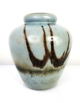 $ CDN87 • Buy VTG Blue Mountain Pottery Canada Slate Glaze Vase Metropolis Blue Grey Marked 9