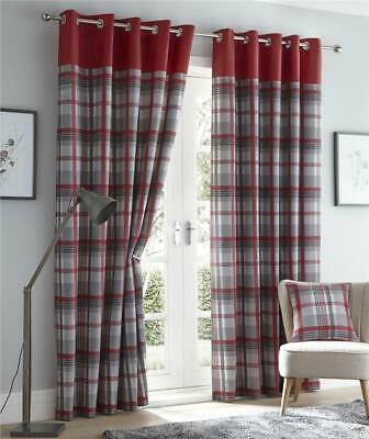 Red Curtains Eyelet Ring Top Lined Curtains Tartan Check Ready Made • 24.29£