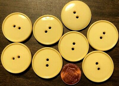 $5.99 • Buy 8 Large Shiny Pale Muted Yellow Plastic Sew-through Buttons 1 1/8  28mm 10149