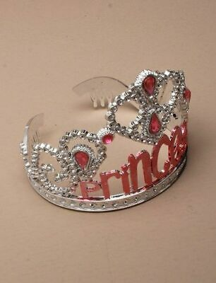 NEW Plastic Silver Childrens Princess Tiara Hair Accessory Bling Party Prom  • 4.49£