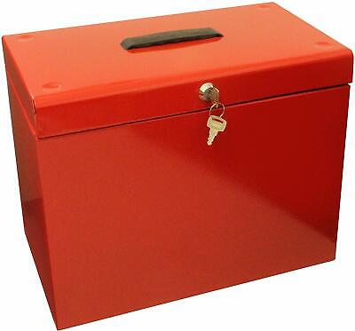 Metal A4 Home File Storage Box Lockable Security Boxes Document Paper Organiser • 17.50£