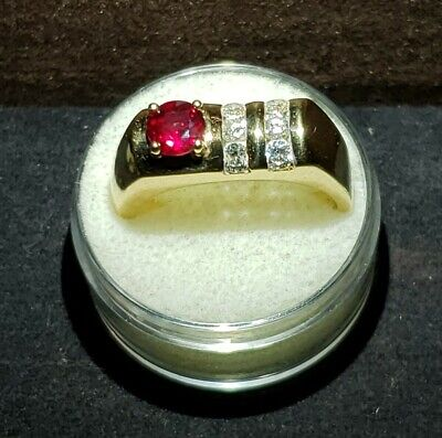 $1800 • Buy Estate 18k Gold .76 Ctw VS2 Type 2 Natural Ruby And Diamond Mens Ring GIA Cert