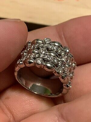 $680 • Buy 🔥🔥Rare Solid 18k White GOLD Diamonds .57 CARAT Cocktail RING .750 🔥🔥11.7g