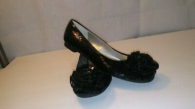 $19.95 • Buy Adrienne Vittadini Black Sequined Flats Shoes Size 8