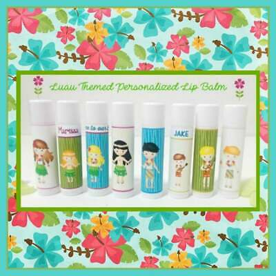 LUAU Themed Lip Balm Favors-Kids Luau Party Free Personalization-You Select Qty • 1.15£