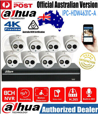 AU294.20 • Buy Dahua 8ch 6mp Built-in Mic 8poe Nvr H.265 Ir Cctv Home Security Ip Camera System