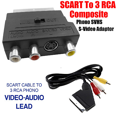 SCART TO 3 RCA SVHS S-VIDEO Adaptor RCA Phono Cable Audio Video TV AV Lead Cable • 2.89£