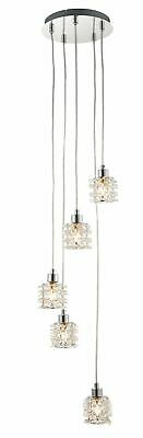 Contemporary 5 Light Cluster Ceiling Pendant Chandelier Jewelled Shades • 29.99£