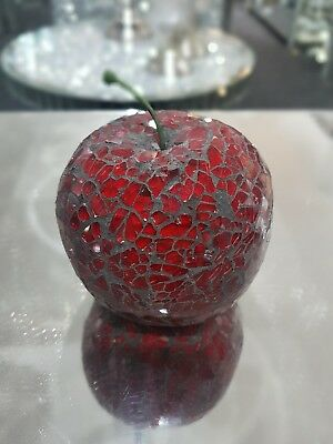 £8.95 • Buy Beautiful Red Mosaic Crackle Glass Apple,ornament,  Fruit Table Decor