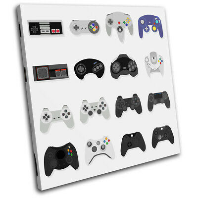 Retro Gaming Controler For Kids Room SINGLE CANVAS WALL ART Picture Print • 19.99£