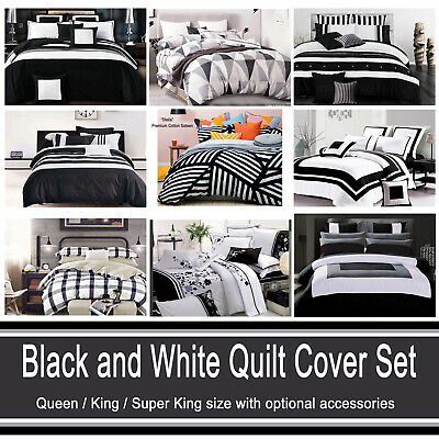 AU55.90 • Buy Grey Black And White Quilt Cover Chevron Striped Abstract Doona Cover Set (#2)