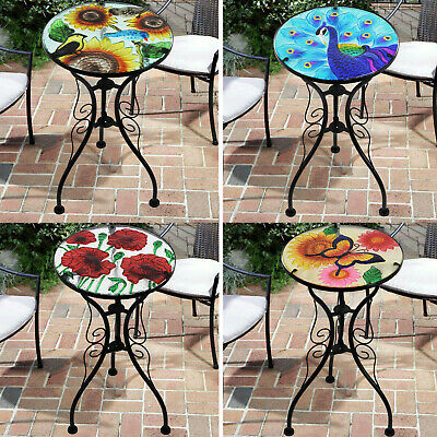 £24.99 • Buy Iron/Glass Round Side Coffee Patio Table Mosaic Design Garden Flower Plant Stand