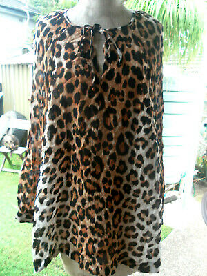 AU15.50 • Buy WITCHERY L/S PEASANT LEOPARD PRINT TOP/SHIRT FULLY LINED Sz 12-14 NWT RRP$129.95