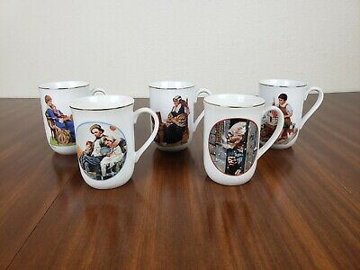 $ CDN24.95 • Buy Norman Rockwell Porcelain Coffee Mugs Gold Rim Museum Collection Set Of 5