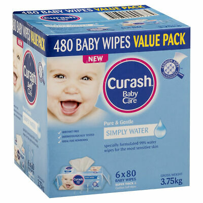 AU37.21 • Buy Curash Babycare Simply Water Baby Wipes 6 X 80s