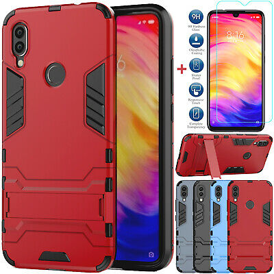 $9.99 • Buy For Xiaomi Redmi Note 7 6 Pro Shockproof Armor Stand Shell Case+Tempered Glass