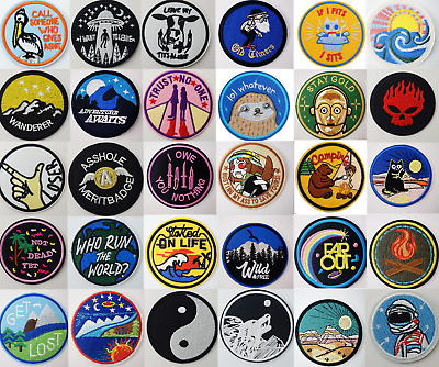 £2.19 • Buy Sew Iron On Round Patches Popular Badge Transfer Embroidered Funny Biker Slogan