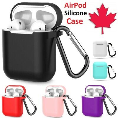$ CDN5.95 • Buy Silicone Airpod Case Soft Cover With Belt Clip Carrabiner For Apple AirPods 1 2
