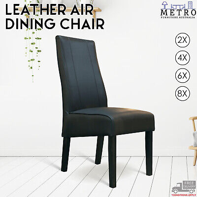 AU509 • Buy 2,4,6,8 Leather Air Black Dining Chair, With Solid Timber Dark,Espresso Legs
