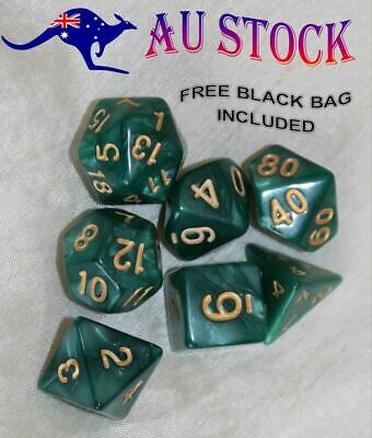 AU8.98 • Buy Dice Set 7 Piece Pearl Dnd Polyhedral Dungeons & Dragons Green & Gold RPG + Bag