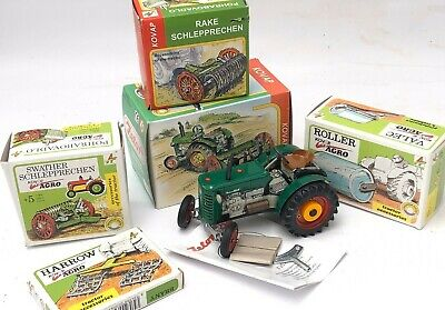 AU280 • Buy Kovap Hand Made Tin Plate Farm Set Collection Inc. Wind-uP Tractor & Implements